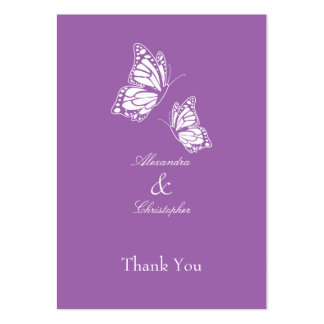 Simple Violet Butterfly Thank You Tag Business Card Template