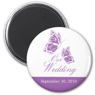 Simple Violet Butterfly Wedding Announcement 2 Inch Round Magnet