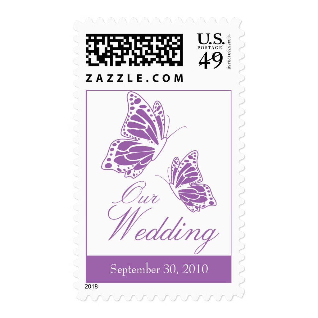 Simple Violet Butterfly Wedding Invitation Postage