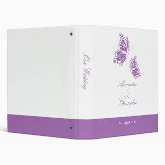 Simple Violet Butterfly Wedding Planner Album 3 Ring Binder