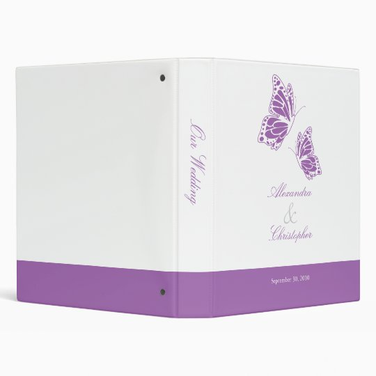 Simple Violet Butterfly Wedding Planner Album Binder
