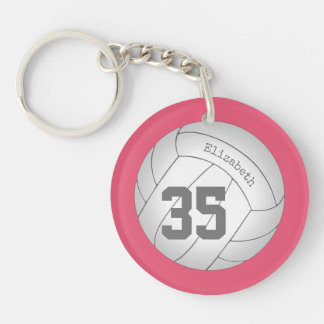 simple volleyball bag tag with player name/number keychain