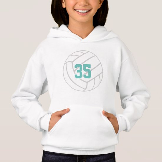 simple volleyball hoodie with jersey number