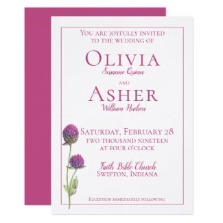 Simple Watercolor Amaranth Thistle Flower Wedding Card