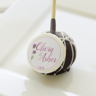 Simple Watercolor Amaranth Thistle Reception Cake Pops