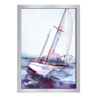 Simple watercolor and ink of Leaning Sailboat Card