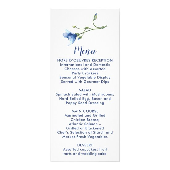 Simple Watercolor Blue Flower Wedding | Menu