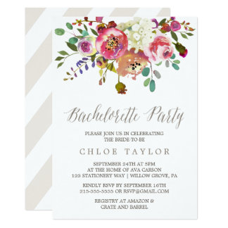 Simple Watercolor Bouquet Bachelorette Party Card
