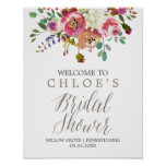 Simple Watercolor Bouquet Bridal Shower Welcome Poster
