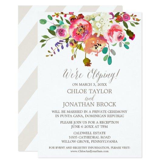 simple watercolor bouquet elopement reception invitation zazzle com