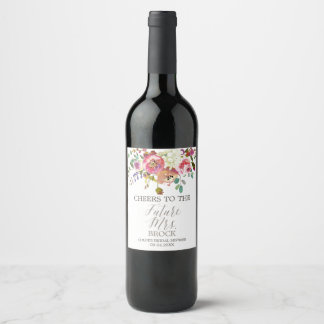 Simple Watercolor Bouquet Future Mrs Bridal Shower Wine Label