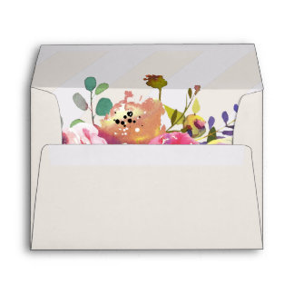 Simple Watercolor Bouquet Lined Wedding Invitation Envelope