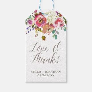 "Simple Watercolor Bouquet ""Love & Thanks"" Wedding Gift Tags"