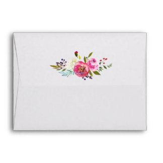 Simple Watercolor Bouquet Printed Address RSVP Envelope