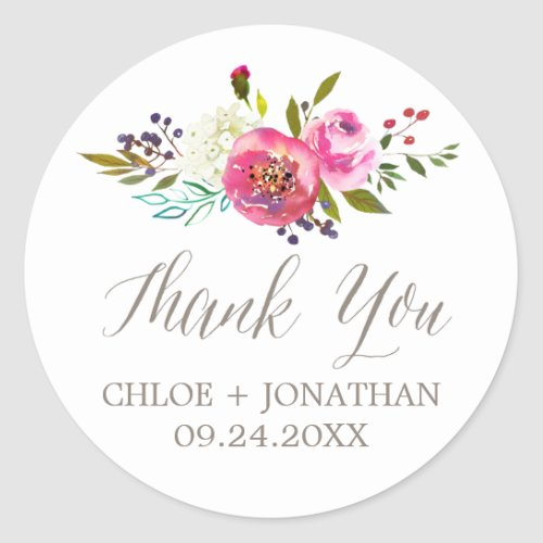 Simple Watercolor Bouquet Thank You Wedding Favor Classic Round Sticker