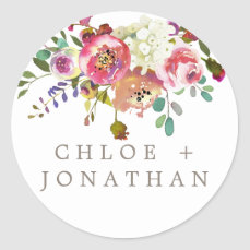 Simple Watercolor Bouquet Wedding Envelope Seals