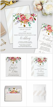 Rustic Watercolor Floral Wedding Collection