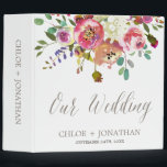 """Simple Watercolor Bouquet Wedding Photo Album 3 Ring Binder<br><div class=""""desc"""">This simple watercolor bouquet wedding photo album is perfect for a classic and elegant wedding. The design features an arrangement of pink, peach and purple peonies with white hydrangeas and an ivory cream and white striped backing. Personalize the binder with the names of the bride and groom and the wedding...</div>"""
