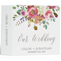 Simple Watercolor Bouquet Wedding Photo Album 3 Ring Binder