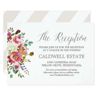 Simple Watercolor Bouquet Wedding Reception Insert Card