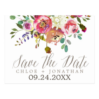 Simple Watercolor Bouquet Wedding Save the Date Postcard