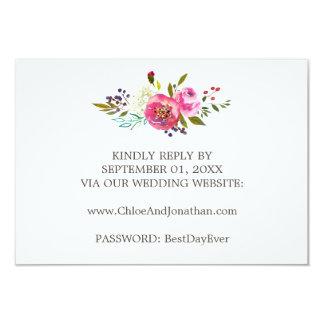 Simple Watercolor Bouquet Wedding Website RSVP Card