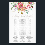 """Simple Watercolor Bouquet Wedding Word Search Game Flyer<br><div class=""""desc"""">This simple watercolor bouquet wedding word search game is perfect for a classic and elegant bridal shower. The front of the game card features &quot;he said she said&quot; which is a fun quiz about the bride and groom. The back of the card features a word find with wedding related words...</div>"""