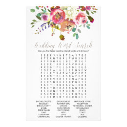 Simple Watercolor Bouquet Wedding Word Search Game Flyer