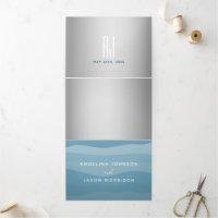 Simple Watercolor Dusty Blue Silver Wedding Photo Tri-Fold Invitation