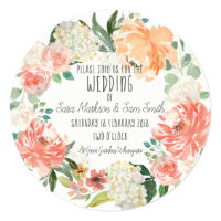 Simple Watercolor Floral Wedding Invitation
