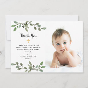 Simple Watercolor Greenery and Gold Photo Baptism Thank You Card