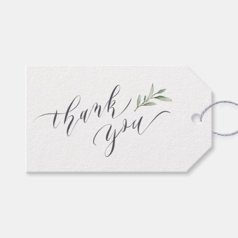 Simple Watercolor Greenery Calligraphy thank you Gift Tags