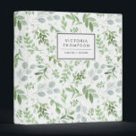 """Simple Watercolor Greenery Eucalyptus Pattern 3 Ring Binder<br><div class=""""desc"""">Organize your taxes,  recipes,  notes and so much more with this whimsical and botanical-inspired binder. It features watercolor pattern of eucalyptus and other foliage. Personalize by adding your name or short phrase. This greenery binder will be perfect as a personalized gift. Matching items are available.</div>"""