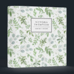 "Simple Watercolor Greenery Eucalyptus Pattern 3 Ring Binder<br><div class=""desc"">Organize your taxes,  recipes,  notes and so much more with this whimsical and botanical-inspired binder. It features watercolor pattern of eucalyptus and other foliage. Personalize by adding your name or short phrase. This greenery binder will be perfect as a personalized gift. Matching items are available.</div>"
