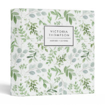 Simple Watercolor Greenery Eucalyptus Pattern 3 Ring Binder
