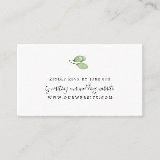 Simple watercolor greenery wedding RSVP online Enclosure Card