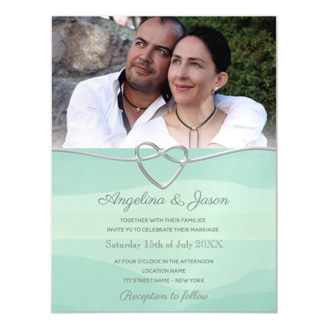 Simple Watercolor Mint Wedding Magnetic Invitation
