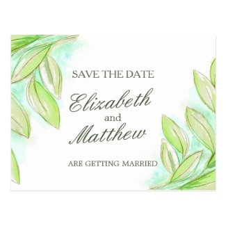 Simple watercolor spring leaves save the date card