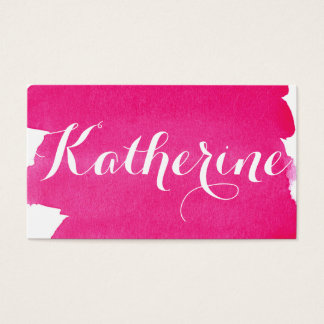 Simple Watercolor Wash Effect Pink Business Card