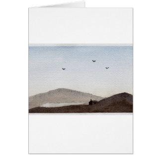Simple Watercolour Dusky Hills (Darker Tonality) Card