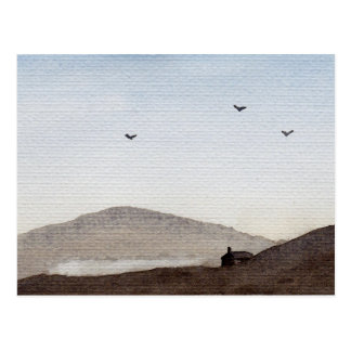 Simple Watercolour Dusky Hills (Darker Tonality) Postcard