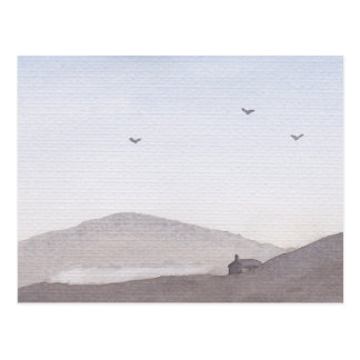 Simple Watercolour Dusky Hills Postcard