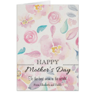 Simple Watercolour Mother's Day greeting card