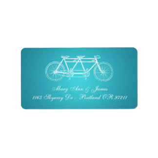 Simple Wedding Address Tandem Bike Turquoise Label