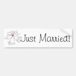 Simple wedding bells custom just married sticker