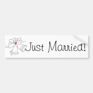 Simple wedding bells custom just married sticker