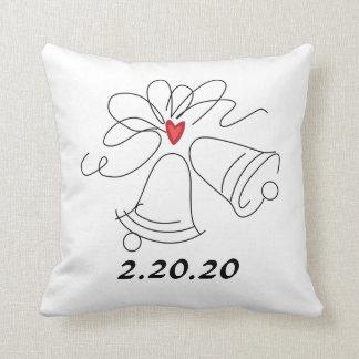 Simple wedding bells customizable pillow
