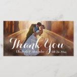 """Simple Wedding Big Thank You Photo Card<br><div class=""""desc"""">Add your own wedding photo , names and date of the wedding to make a simple yet modern and elegant personalized wedding photo thank you card. Customize and personalize easily and send to all your wedding guests. A sweet memento to remember you by your guest.</div>"""