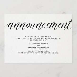 Simple Wedding Cancellation Announcement