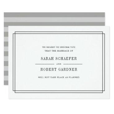 RedwoodAndVine Simple Wedding Cancellation Announcement Card